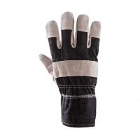 Rękawice ochronne wzmacniane skórą PLS-1 GRANAT/P