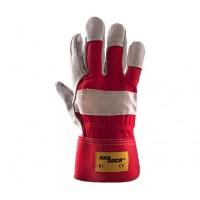 Rękawice ochronne wzmacniane skórą HADDOCK R1 CZERWONE